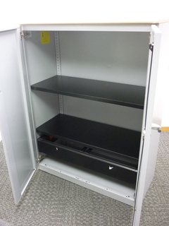 1325mm high Steelcase silvermaple metal cupboards