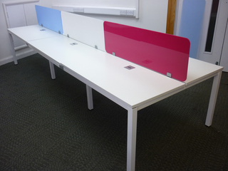 Balma G4 white bench desks in various sizes